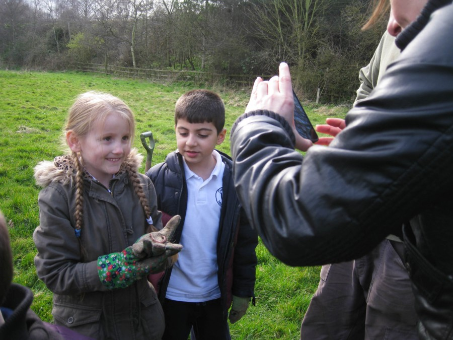 Cubitt Town students with their favourite worm friend!