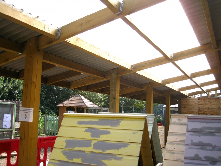 The new roof, which allows natural light to illuminate Pets Corner.