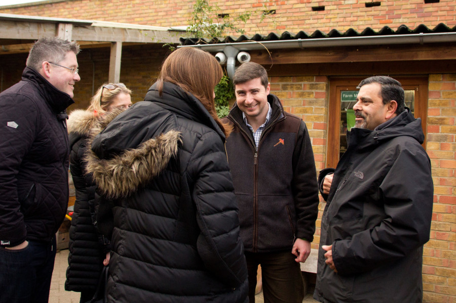 Farm manager Tom Davis introduces Cyrus Todiwala to nursery manager Vicky Strong.