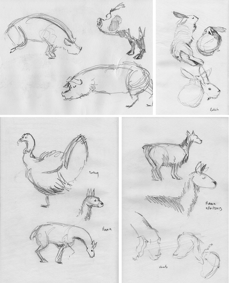Sketches around the farm by Paul Joseph Nicholson, more sketches from Mudchute  here.