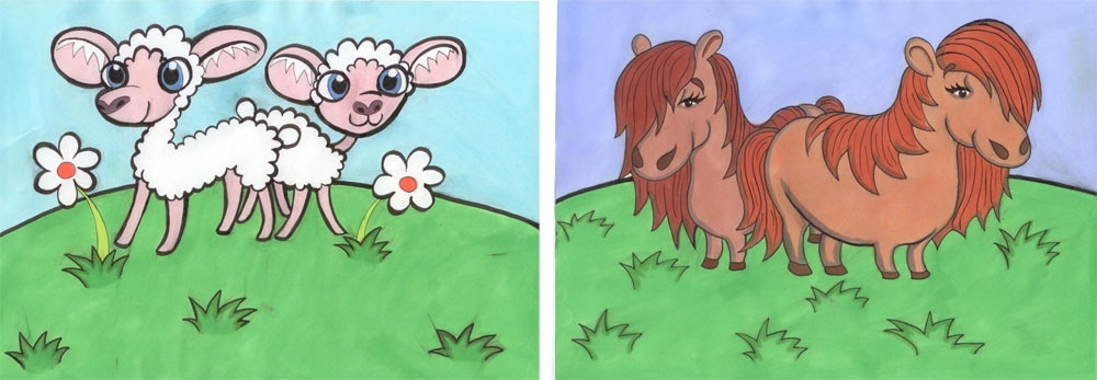 Recent cartoons celebrating the arrival of our lambs and shetland ponies by young local artist Rebecca Mitchell.