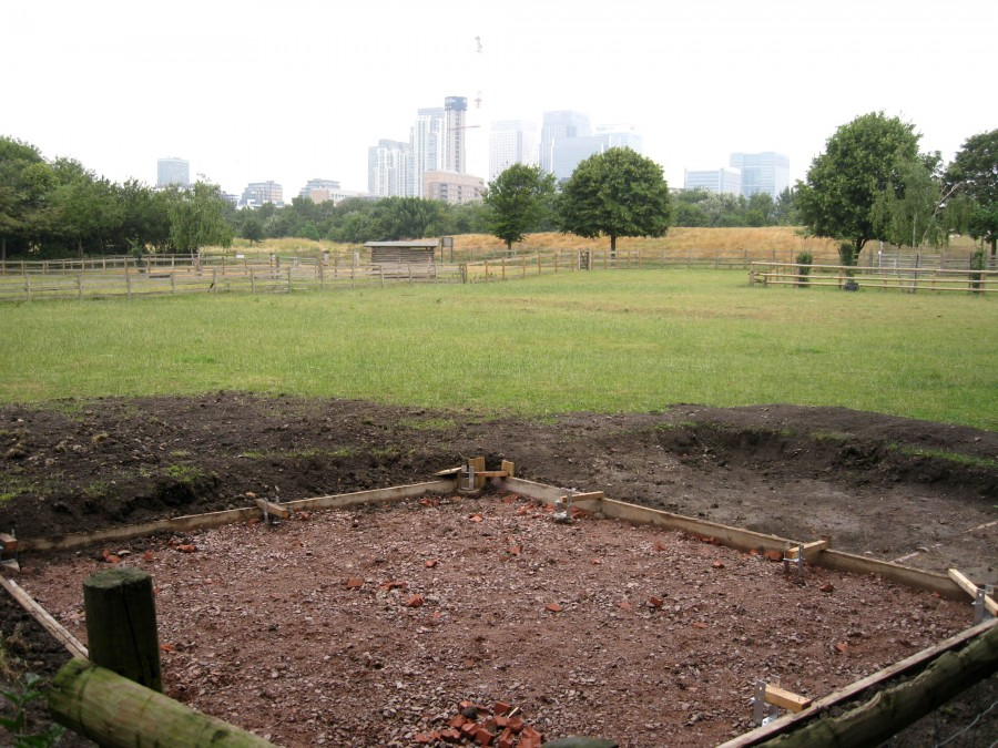 The beginnings of the new cow shelter.