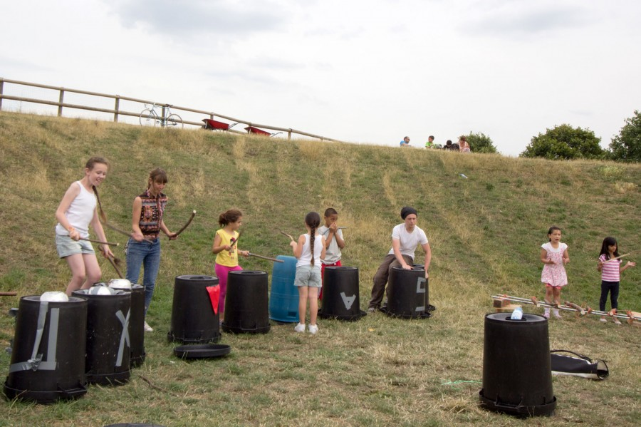 The bin drumming section.